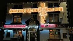 One of the pub's lit up in Lees
