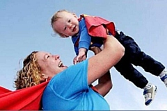 Superman Davey with his Mum Lisa Lane