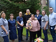 Jessica, Michael and staff at the Royal Oldham Hospital.