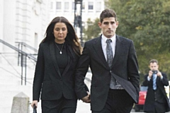 Ched Evans with his partner Natasha Massey during his retrial