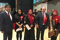 Labour candidates at the local election count