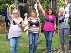 Janice Taylor, Cathy Wilde, Lesley Winrow and Pat Leeson of Saddleworth WI
