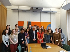 Debbie�s summer school participants with John Bercow - left to right - Eleonore, Caitlin, Jenna, Vicky, George, Aman, Aisling, Lisa, Tom, John, Archie, Zeshan, Debbie, Freya, Emily, Katie, Libby, Megan, Marzia.