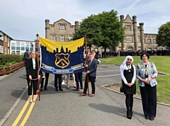 The Mayor of Oldham, Cllr Ginny Alexander, and Youth Mayor Samah Khalil at the start of the Blue Coat School Founders Parade