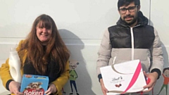 Customers Leighanne Read and Darius Robinson at FCHO's first jumble sale