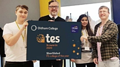 SHORTLISTED: Alun Francis (second left), Chief Executive and Principal, with students on Oldham College's fashion and textiles course who are (from left) Barney Garlick, Hira Chama and Matthew Brierley