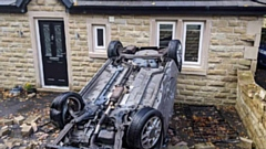 The scene of the crash on Church Road, Uppermill