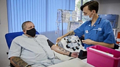 Paul Mates is pictured donating at Manchester Plymouth Grove Donor Centre