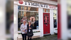 Gillian Holt and Karen Astles are pictured outside Tymbuktu in Oldham
