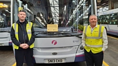Driver Grahame Stott, left, with engineering manager Kevin Farricker at the Oldham depot