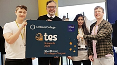 SHORTLISTED! Alun Francis (second left) Chief Executive and Principal of Oldham College, celebrating Oldham College�s shortlisting for the TES FE Awards 2020 �College of the Year� with Fashion students.