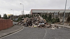 The big pile of rubbish was dumped on Cowling Road.