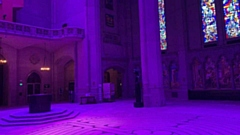 The scene inside the huge Grace Cathedral