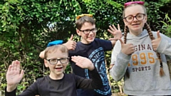 Eggs-cellent adventure: Oldham home-school heroes, Hannah (15), Elliott (13), and George Lyons (8) are launching a new DIY sports day pack from Cancer Research UK's Race for Life Schools, in memory of grandmother Sue