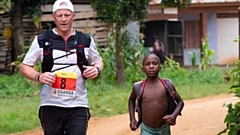 Steve Hill is pictured taking part in last year's Uganda Marathon