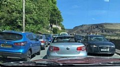 The gridlocked scene close to Dovestone Reservoir on bank holiday Monday
