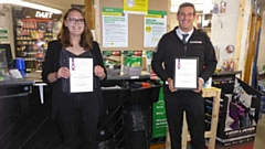 Hayley Parker and Thomas Howe are pictured showing off their certificates