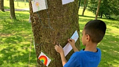 School children took to�drawing pictures on some of the trees in Alexandra Park