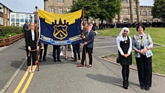 The Mayor of Oldham, Cllr Ginny Alexander, and Youth Mayor Samah Khalil at the start of the Blue Coat School Founders Parade last year