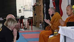 Two monks from the Wat Sriratanaram Monastery in Bolton came to Siam Camp in Oldham to conduct a blessing