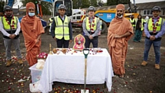 Pictured at the ground-breaking ceremony (left to right) are: Jordan Stent, Swami Ghanshyamprasad Dasji, Suresh Gorasia, Jason McKnight, Swami Dhyanswarup Dasji and Josh Marrs