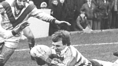 Alan Taylor dives in for a try during his Oldham hey-day
