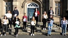 Students with their results at The Blue Coat School