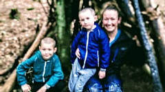 Samantha Dutton is pictured with her sons Callum and Tommy