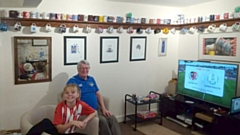 David and his granddaughter Amber - ready for the kick off