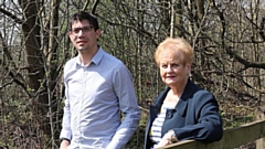 Cllr Sam Al-Hamdani and Cllr Barbara Beeley at the Thornley Brook site in Springhead, where the ancient woodland site was identified