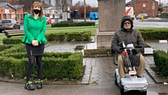 MP Angela Rayner is pictured with Mohammad Shafique with his new mobility scooter