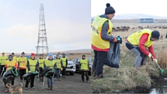 Volunteers collecting over 60 bags of rubbish