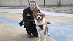 Cheeky Charlie is pictured with Assistant Training and Behaviour Adviser Charlotte Moyes