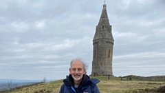 Dr Ian Brett is pictured at Hartshead Pike