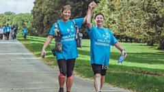 Parkinson's fundraisers taking part in a walk.