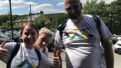 L - R Agata Kasprzyk, her friend Monika and Matthew Taylor in the 2019 3 Peaks Challenge.
